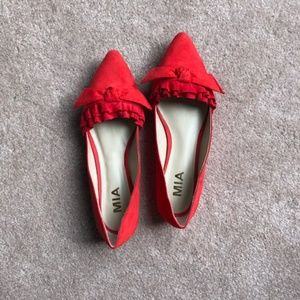 Mia Faux Suede Ruffle Flat Red Size 6.5 Never Worn